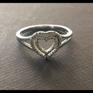 Sterling silver and diamond heart ring 7
